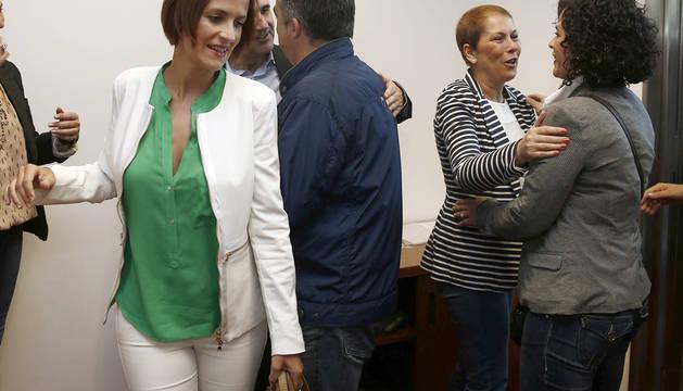 María Chivite y Uxue Barkos, en una reciente reunión entre el PSN y Geroa Bai en el Parlamento.