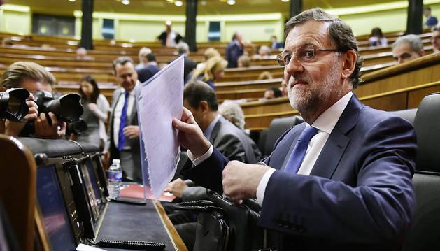 El presidente del Gobierno, Mariano Rajoy, en la sesión de control al Gobierno.