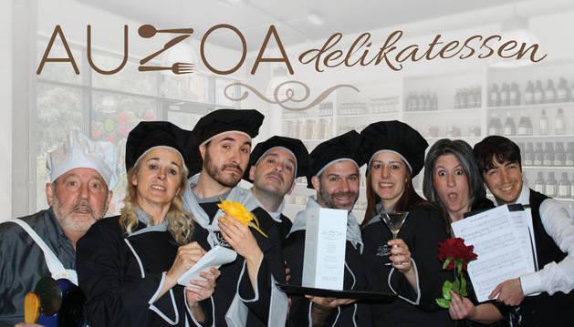 Cartel de 'Auzoa Delikatessen'.