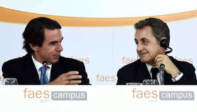 Aznar, junto a Sarkozy, en la apertura de los cursos FAES.