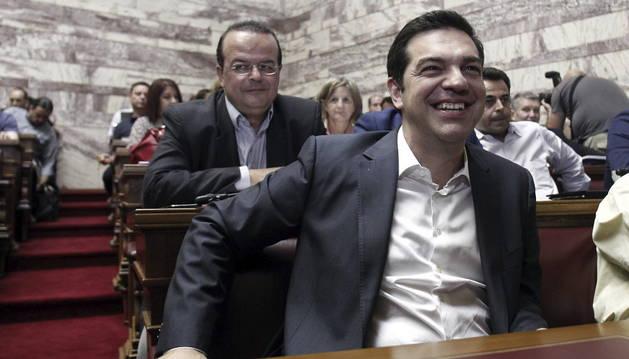 Tsipras, durante una sesión en el Parlamento de Atenas, este miércoles.