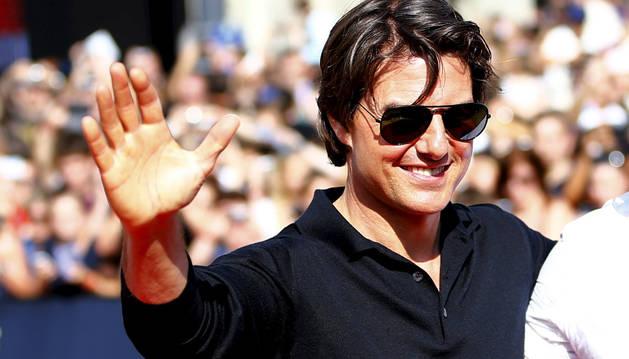 Tom Cruise presentando 'Misión Imposible: Nación secreta'.