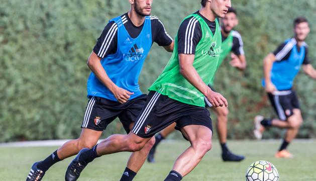 Roberto Torres y Adrián Cruz, en un entrenamiento.
