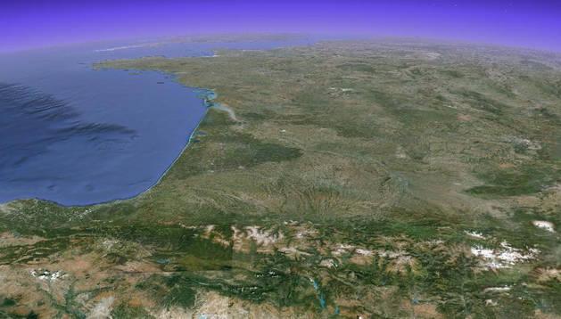 Pirineos en Google Earth.
