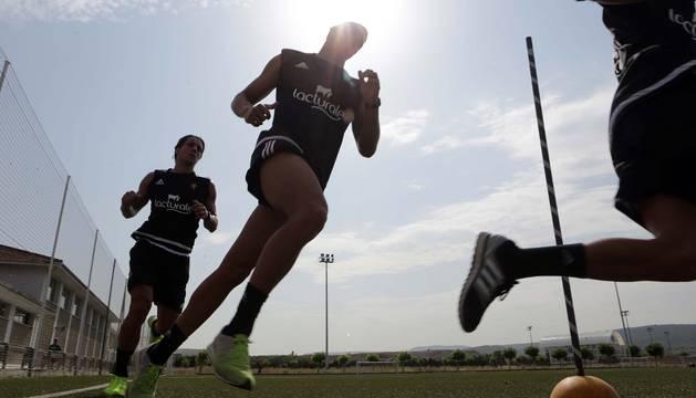 Jugadores de Osasuna, en un entrenamiento.