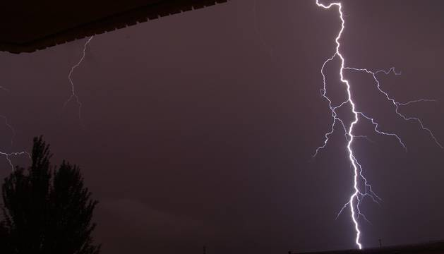 Durante la tormenta registrada en Mendavia la pasada noche