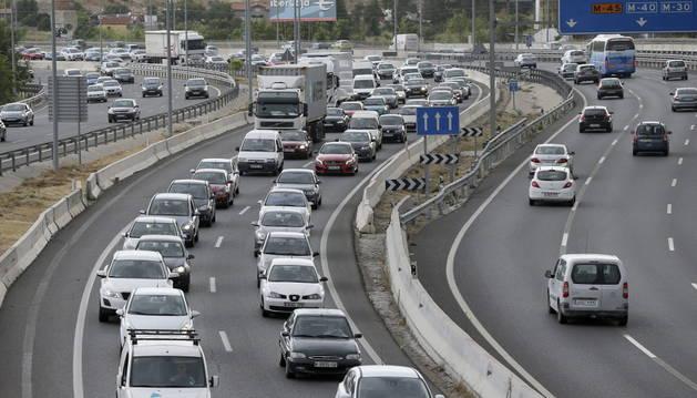 Estado del tráfico en la Nacional III, carretera de Valencia, en sentido salida de Madrid.