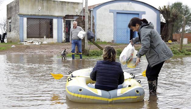 Localidad de San Antonio de Areco, en la provincia de Buenos Aires, anegada por las aguas.