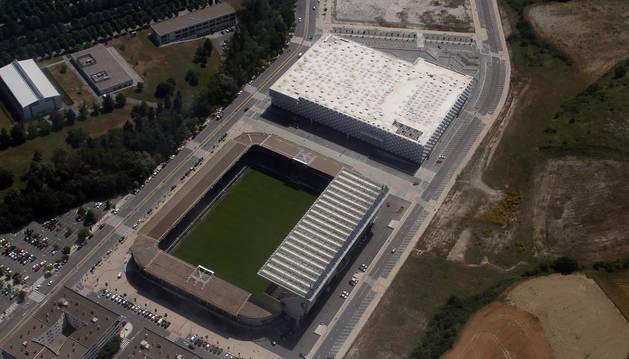 Vista aérea del estadio de El Sadar.