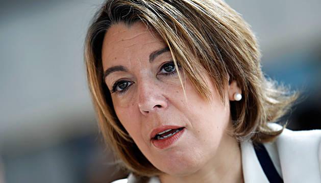 La senadora regionalista Amelia Salanueva, durante una entrevista.