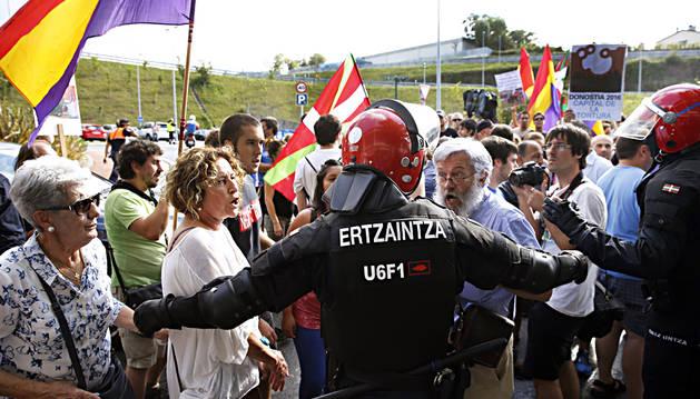 Un momento de la protesta en San Sebastián.