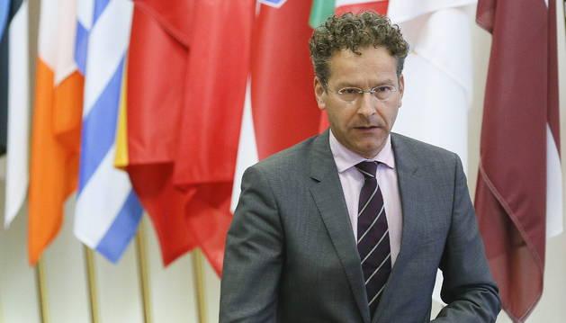 El presidente del Eurogrupo, Jeroen Dijsselbloem, tras seis horas de reunión extraordinaria en Bruselas.