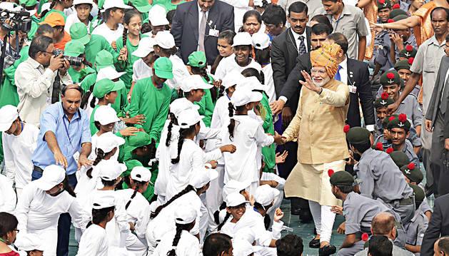 Narendra Modi, primer ministro indio, en un acto público.