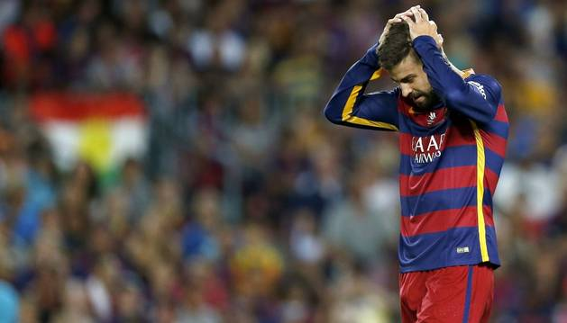 Piqué, contra el Athletic Club.