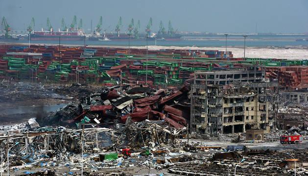Epicentro de las explosiones en el puerto de Tianjin.