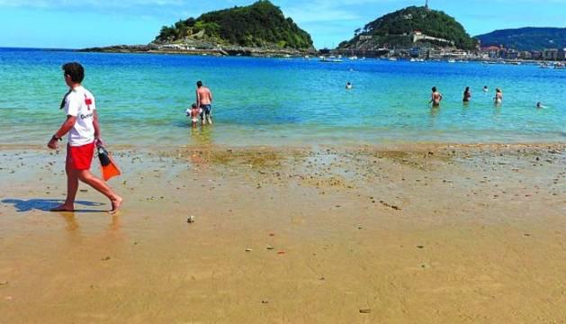 Imagen actual de la playa de Ondarreta, en San Sebastián.