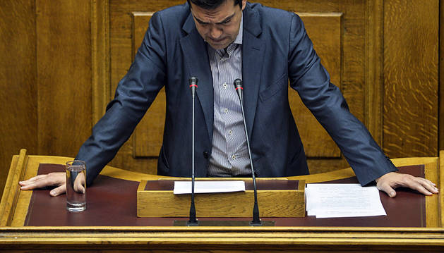 Alexis Tsipras, durante su comparecencia.