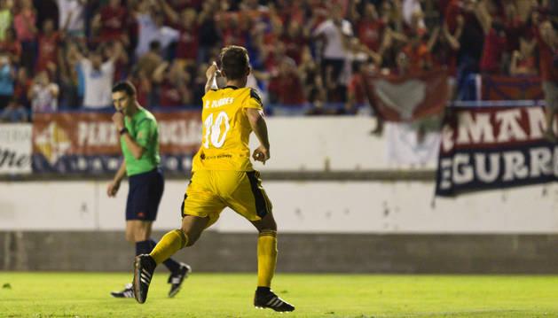 Torres celebra el gol contra el Llagostera.