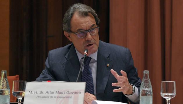 Artur Mas durante su comparecencia ante la Diputación.