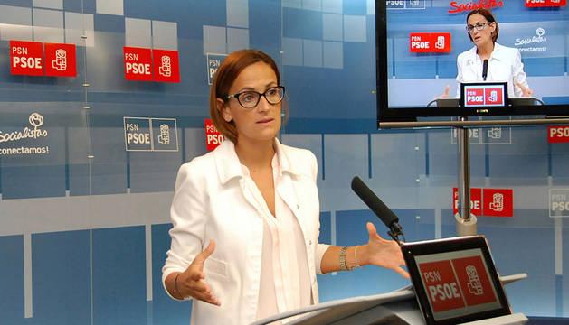 María Chivite, en la sede del PSN.
