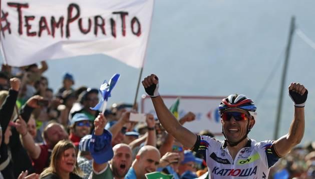 Purito celebra su victoria.