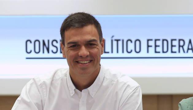 El secretario general del PSRE, Pedro Sánchez, durante el Consejo de Político Federal del partido