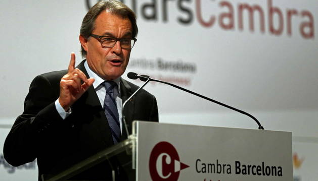 El presidente de la Generalitat, Artur Mas, en la Cámara de Comercio.