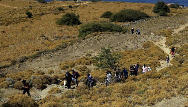 Un grupo de refugiados procedentes de Siria.