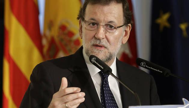 Rajoy, durante su participación en el desayuno de Nueva Economía Fórum.