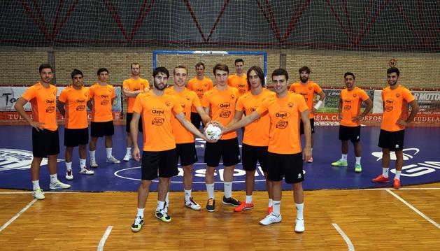 Los jugadores del Aspil-Vidal, en el Ciudad de Tudela.