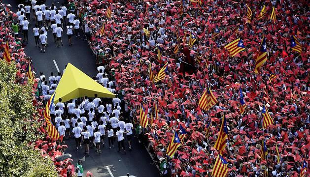 Miles de personas salieron a la calle en Barcelona este viernes 11 de septiembre para celebrar la Díada.