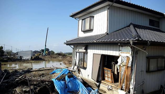 La ciudad de Joso, devastada tras el paso del tifón Etau