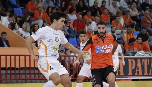 Imagen del partido disputado este sábado en Burela.