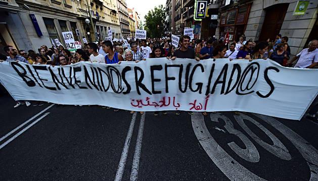 Un momento de la marcha por los refugiados en Madrid.