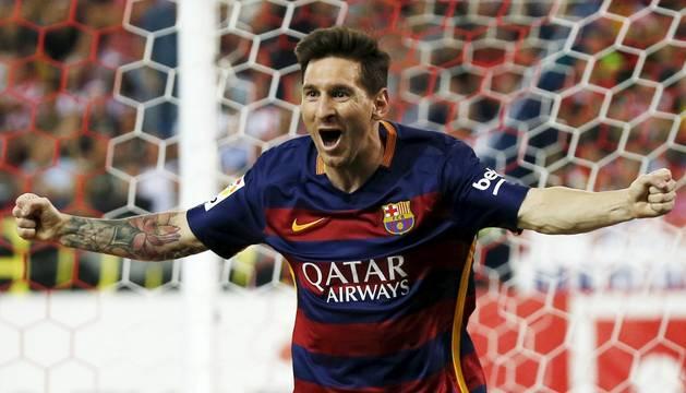 Messi celebra el segundo gol del Barcelona.