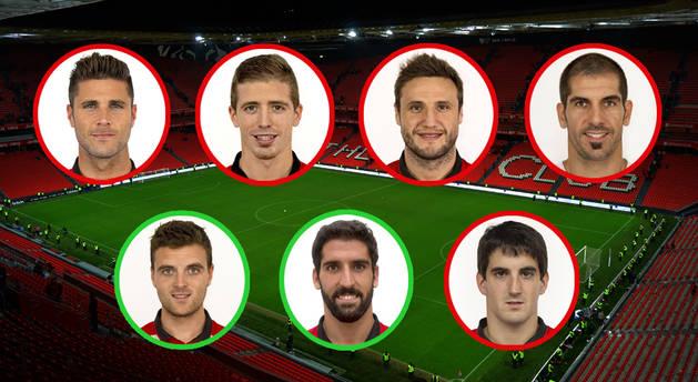 Sola, Muniain, Gurpegui, Iraizoz, Eraso, Raúl García y San José, los navarros del Athletic.