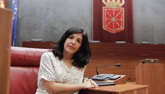 Idoia Villanueva, en el Parlamento foral.