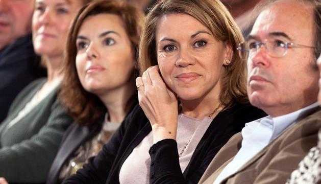 María Dolores Cospedal, Pío García Escudero y Soraya Sáez de Santamaría.