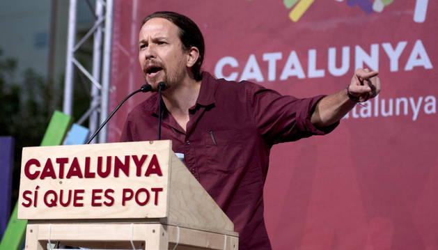 Pablo Iglesias durante su intervención en un acto de campaña.