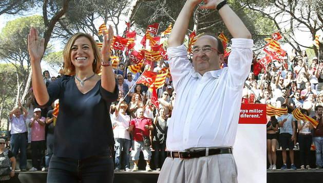 Miquel Iceta en un acto de la campaña del PSC.
