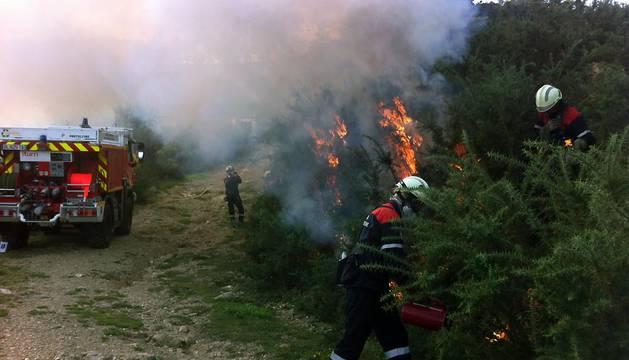 Varios bomberos realizan labores de extinción.