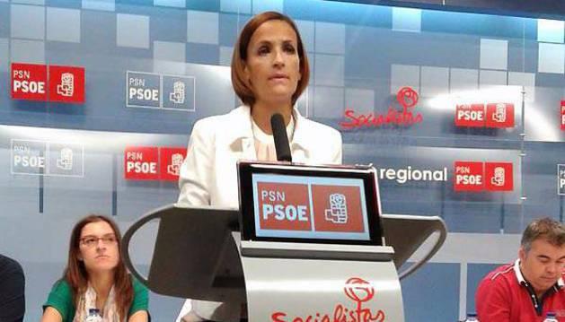 María Chivite, durante su intervención en el Comité Regional del PSN.