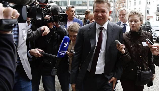El presidente del consorcio ruso Gazprom, Alexéi Miller, a su llegada a la sede de la CE en Bruselas.