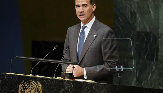El rey Felipe VI interviene ante la Cumbre de Desarrollo Sostenible.