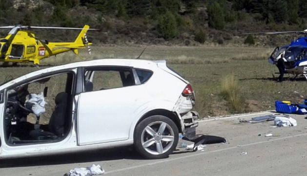 Accidente de tráfico que se ha producido en Salvacañete.