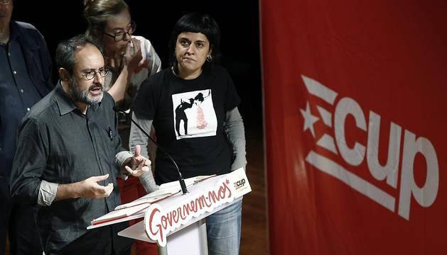 Antonio Baños, durante la rueda de prensa ofrecida este lunes en Barcelona.