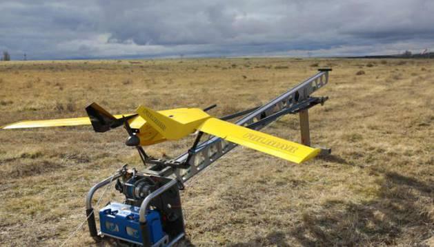 El dron Fulmar en su rampa de lanzamiento.