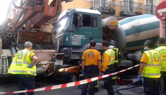 Muere un conductor aplastado por una hormigonera en Madrid
