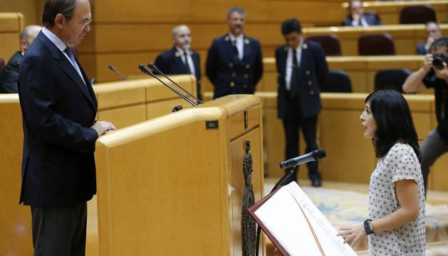 Idoia Villanueva, de Podemos, toma posesión como senadora por Navarra