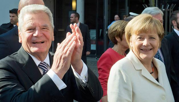 Gauck y Merkel celebran en Fráncfort la reunificación de Alemania